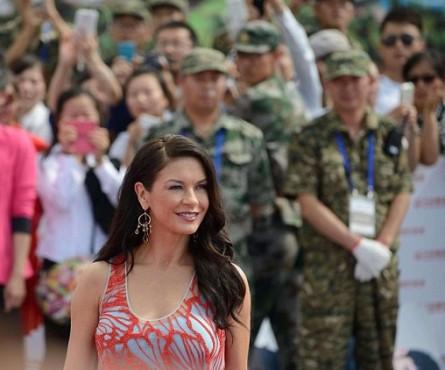 Pictures: Catherine Zeta-Jones walks the red carpet at the 'Oriental Movie Metropolis' in China