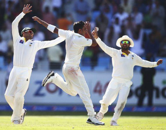 Imran Khan celebrates after getting Brad Haddin, Pakistan v Australia, 1st Test,
