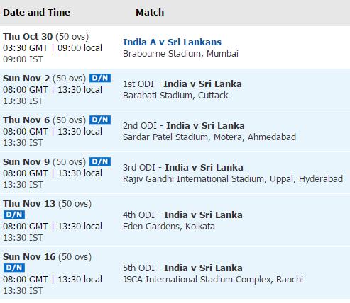 India vs SL  2014 schedule