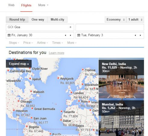 Google flight search