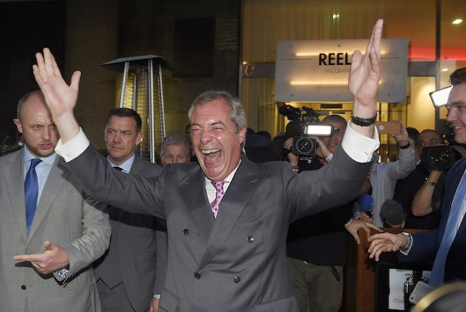 Nigel Farage, the leader of the United Kingdom Independence Party (UKIP), reacts at a Leave.eu party after polling stations closed in the Referendum on the European Union in London